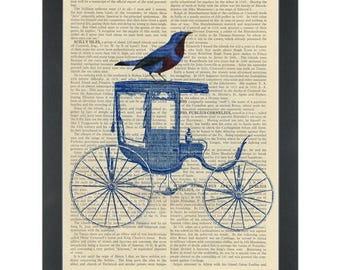 Blue bird on a vintage blue carriage Dictionary Art Print