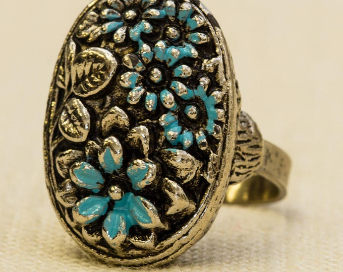 Oval Floral Vintage Statement Ring Silver Blue Enamel Flowers Pewter Adjustable Size 7RI