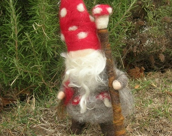 Toadstool Gnome with Walking Stick Needle felted wool Elf - Elsa Beskow and Waldorf Inspired