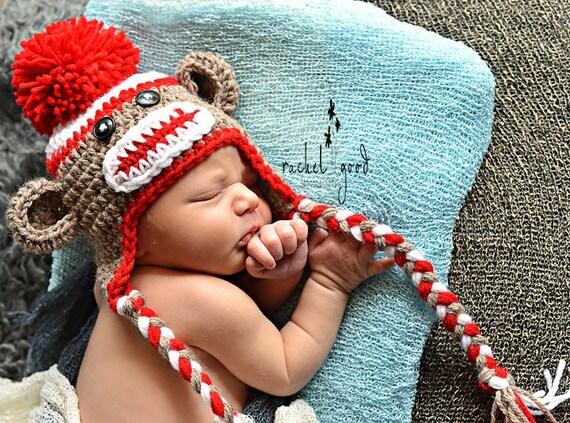 Sock Monkey Hat Newborn Sock Monkey Hat Crochet Sock Monkey