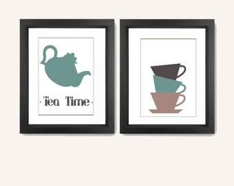 Kitchen Wall Art - Kitchen Wall Decor - Kitchen Print Set - Kitchen Decor - Coffee And Tea Poster Set - Set of 2 Prints
