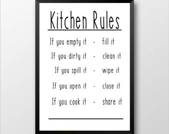 Kitchen Rules Printable, Home Decor, Wall Hanging, Kitchen Decor, Printable Wall Art, Wall Print, Wall Decor, Instant Download, Kitchen Art