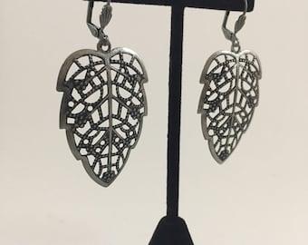 Large Silver Leaf Earrings