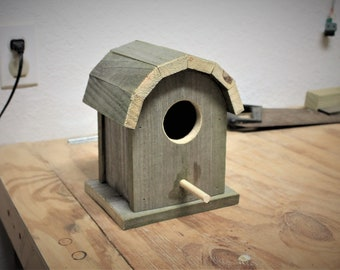 Birdhouse, round roof, made from reclaimed wood, garden decor,