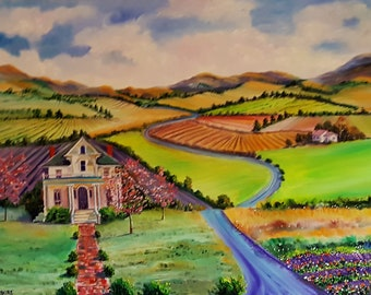 Farm Landscape Oil, Lavender Fields, Farmhouse Peaceful Landscape, Country Drive Hwy 126, Brick Road to Farmhouse, Dan Leasure
