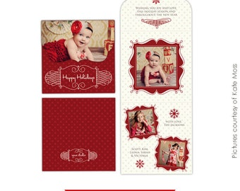 PSD Holiday Folded Luxe Card Template - Romantic Christmas 5x5 -  E159