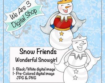 We Are 3 Digital Shop, Wonderful Snowgirl, Digital Stamp, Winter, Christmas
