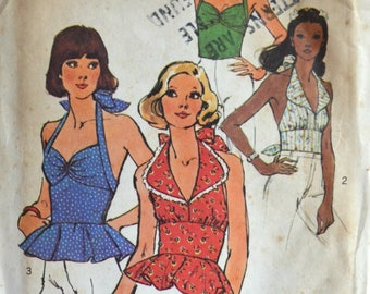 1970s Simplicity Vintage Sewing Pattern 6357, Size 8; Misses' Halter Tops