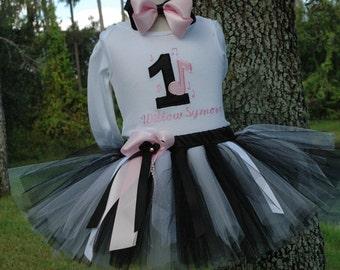 1st birthday girl outfit, Music Note 1st birthday outfit,one year old girl birthday outfit,black pink tutu,baby girl shabby chic,girl tutu