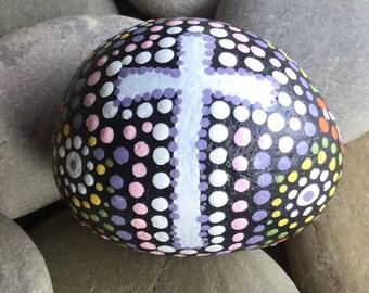 Hand painted Prayer Stone, cross, rock, egg shaped