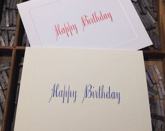 """Letterpress Note Cards """"Happy Birthday"""" - Set of 10 cards with matching envelopes"""