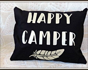 Happy Camper pillow, camping decor, happy glamper, glamper decor, rv decor, motorhome decor, retirement gift, gold shiny pillow