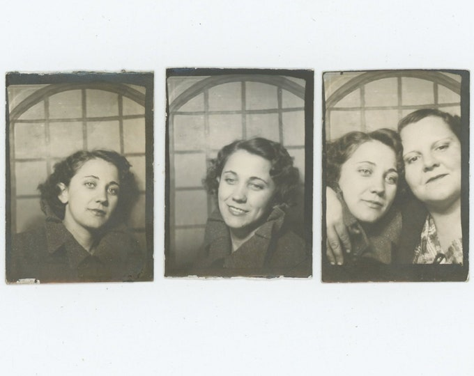 Set of 3 Vintage Arcade Photo Booth Poses: Young Woman & Mother? c1940s-50s [83656]