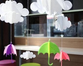 MOBILE KIT-DIY 3-D Felt Clouds-Umbrellas Mobile You Make