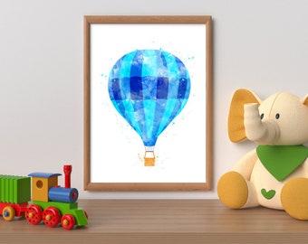 Watercolor hot air balloon printable, balloon print, nursery printable balloon wall art, boy bedroom wall art, blue balloon watercolor