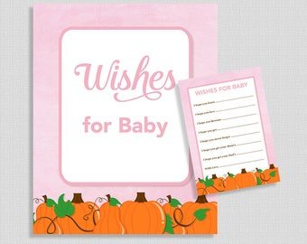 Wishes For Baby Cards & Sign, Pink Pumpkins Baby Shower Activity, Fall Baby Girl Shower, DIY Printable, INSTANT DOWNLOAD