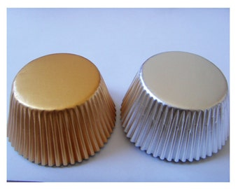 Lot of 100 pcs silver or gold color cupcake paper cups cupcake paper baking cups cupcake liners gold