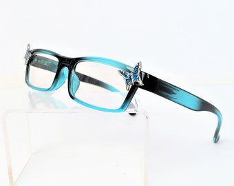 Reading glasses with blue Butterfly, Women's eyeglasses +2.75