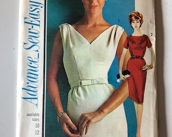 """Advance Sewing Pattern Vintage 1960s #3312 Uncut """"Sew-Easy"""" Dress Size 16 Mad-Men Style!"""