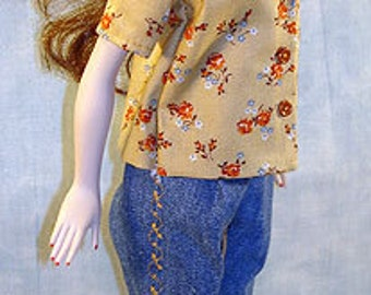15-16 Inch Fashion Doll Clothes - Tan Floral Embroidered Jeans Outfit made by Jane Ellen to fit 15-16 inch fashion dolls