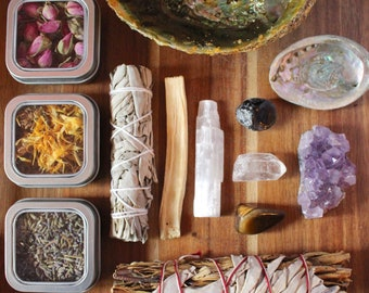 Deluxe Starter Set- Herbs and Crystals Set Smudge Bundles Healing Set Raw Beginner Kit Natural Crystals and Stones Amethyst Crystal Decor