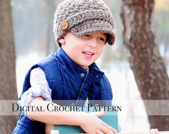 Crochet Hat Pattern / Crochet Pattern / Brimmed Hat Pattern / Unisex Square Brimmed Newsboy Hat Pattern 017 / Chunky Hat Pattern