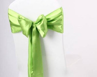 50x Lime Green Satin Chair Sashes Bows Church Wedding Engagement Event Reception Ceremony Function Bouquet Christening Baptism Decoration