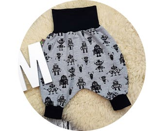 Harem trousers, harem trousers, pants, baby pants, baby, Mitwachsen pants, robot, robot, alien, technology, gray, grey, black, guys