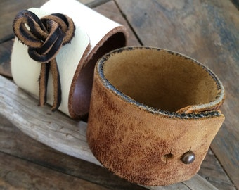 Custom Leather Cuff  -  Made to Order Leather Wrist Cuff - Rustic Bohemian Leather Bracelet