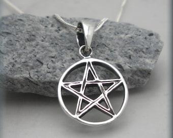 Tiny Pentagram Necklace, Sterling Silver, Pentacle Neklace, Pentagram Pendant, Wiccan, Spiritual Jewelry, Pentacle Pendant, Pagan