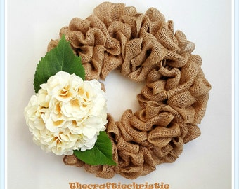 Mother's Day Gift-Gift for Mom-Gift for Grandmother-Gift for her-Spring Burlap Wreath-Hydrangea Wreath-Housewarming Gift-Everyday Wreath