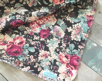 Pink, turquoise and grey floral swaddle blanket-photography prop- receiving blanket