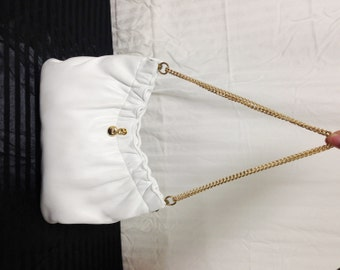 Ande ,white leather purse,bag,formal,White ,Purse, vintage,1960s