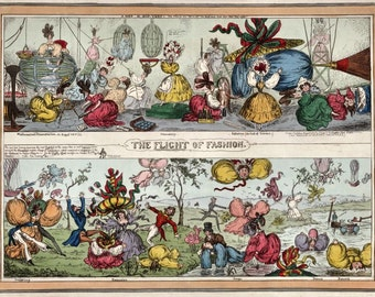 Flights of Fashion - reproduction antique satirical print