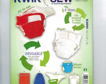 Craft Sewing Pattern Kwik Sew 3690 K3690 Cloth Diaper Cover AIO All In One Wet Bag Zipper Pail Liner Insert UNCUT