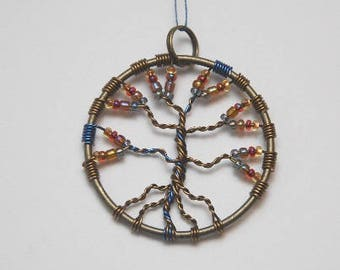 Purple and Pink and Golden Tree of Life Pendant