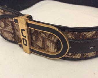 Vintage Christian Dior belt signature print 60s mod 70s small xsmall retro