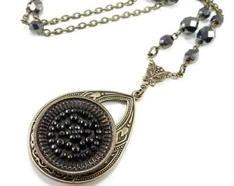 Hematite Teardrop - Brass ANTIQUE BUTTON Necklace - Victorian Steampunk Jewelry by Compass Rose Design
