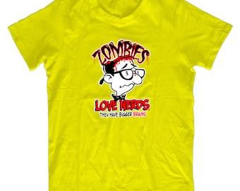 Zombie's Love Nerds Big Brains - Funny Mens & Ladies Zombie T-shirt