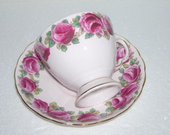 Tuscan Bone China Cup and Saucer with Dark Pink Roses