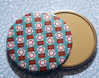 Gorgeous Retro Floral Print Pocket Mirror in Turquoise and Red
