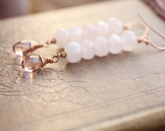 D U L C E collection // rose quartz and pink glass earrings // 14k rose gold fill earrings