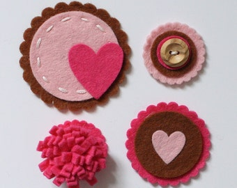 Felt Card Toppers - Baby pink, Hot pink & Chocolate Brown, Scrapbook Kit, Card Making Kit, Felt Scrapbook Embellishments, Handmade Craft Kit