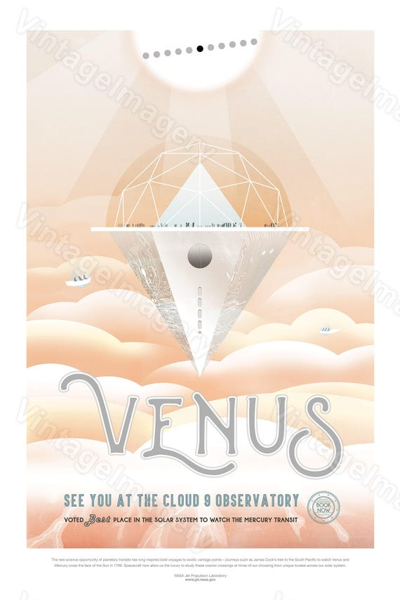 Venus cloud 9 ExoPlanet 2016 NASA/JPL Space Art Great Gift idea for Kids Room Space Travel Poster Office, man cave, Wall Art Home Decor