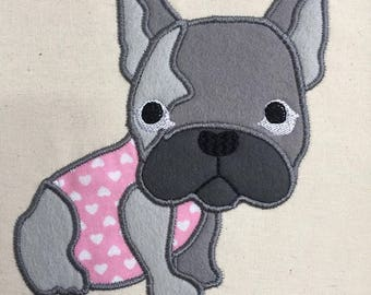 French Bulldog Applique Machine Embroidery design, 4x4 and 5x7 - By Pixie Willow Patterns