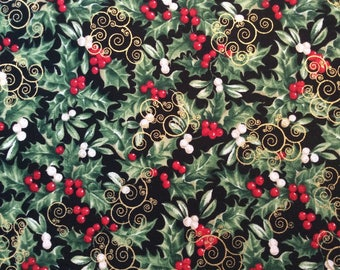 Holiday Metallic Fabric Hollies and Berries