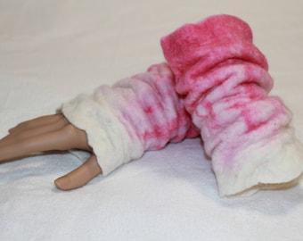 Felted wrist cuffs, arm warmers, 100% wool