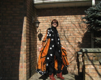 Nuno Felt Coat, Made to Order, One of a Kind,Monarch Butterfly Silk, merino wool. Light weight