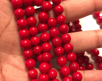 Beautiful Red Coral Beads 8mm