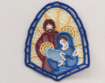 Holy Family Nativity Lace Ornament